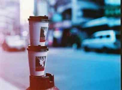 Coffee run - Lomochrome Purple XR 100-400 shot at ISO 200. Color negative film in 120 format shot as 6x4.5.