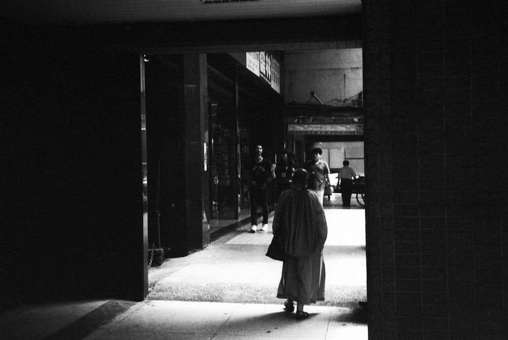 Passage - Kodak Tri-x 400 shot at ISO6400. Black and white negative film in 35mm format. Push processed 4-stops.