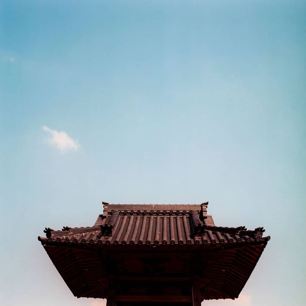 Raise the roof - Fuji NPS 160 shot at EI 100. Color negative film in 120 format shot as 6x6. Over exposed 2/3 of a stop