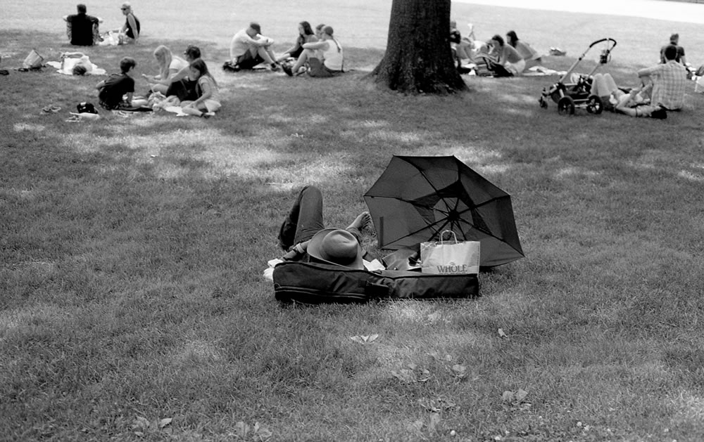 Ode to Henri - A tip of the cap to the famous Henri Cartier-Bresson image, taken in Central Park, NYC, 2015. Olympus OM-1, ILFORD Delta Professional 400