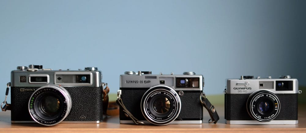 Left to right: Yashica GS, Olympus 35 SP, Olympus 35 RC