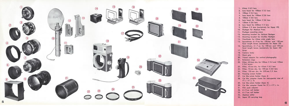 Mamiya Super 23 Manual Accessory List