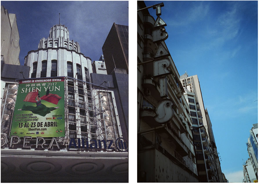 """Shot in the downtown """"theater"""" district, left Fuji 800, right Cinestill 800T."""