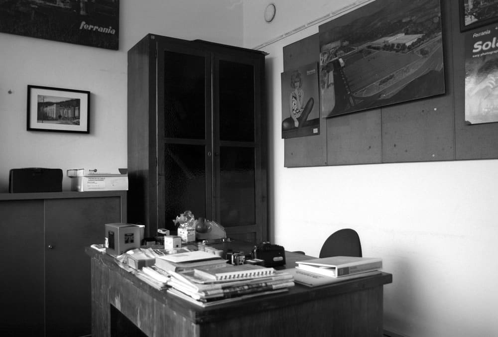 "The utilitarian ""Soviet"" style of original LRF office furniture is a distinctive trait in all rooms. - FILM FERRANIA P30, June 2017"