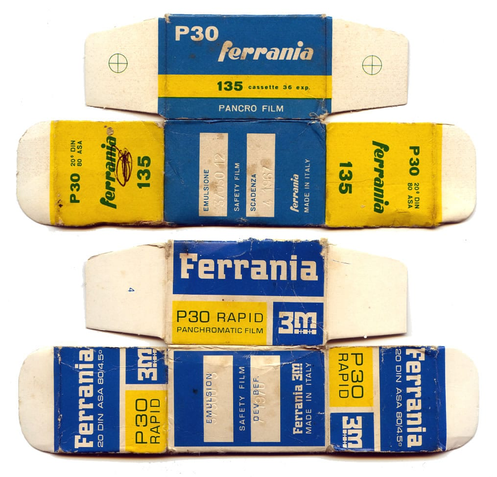 packaging showing the design transition following Ferrania's acquisition by 3M in the mid-1960s. Sourced from: MZPT