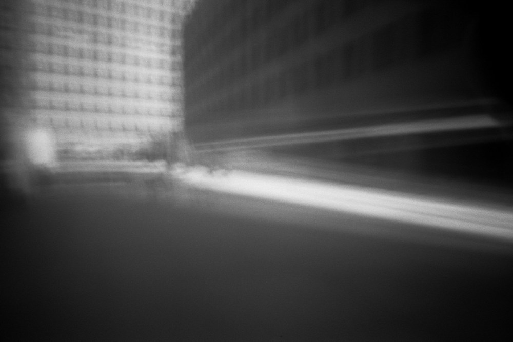 The pinhole blurred every element of the photo to representations of light, and in doing so leaves the visual power and interpretation up to the audience. Shot with DIY paper pinhole and Kodak T-MAX 100.