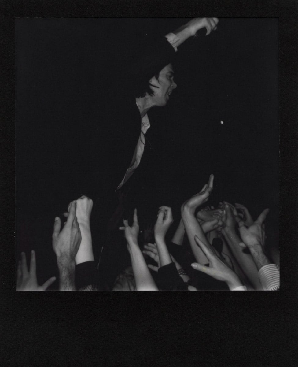 Polaroid AF Sun 660 camera, The Impossible Project B&W, black frame film (Nick Cave, Berlin 2017).