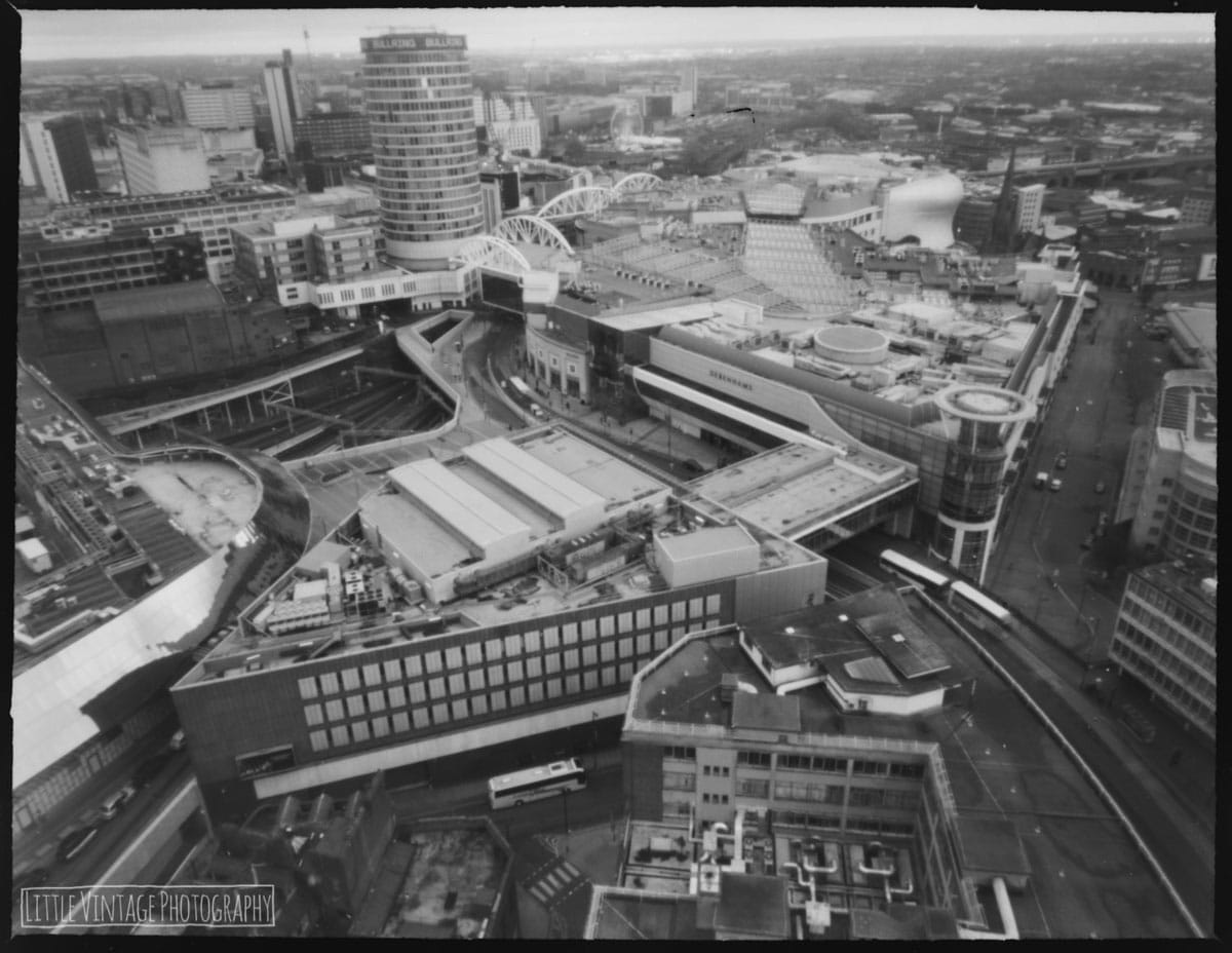 Skyscraper viewpoint, Birmingham, 2017. Shot with 5x4 large format pinhole camera on ILFORD FP4 PLUS. Tray developed