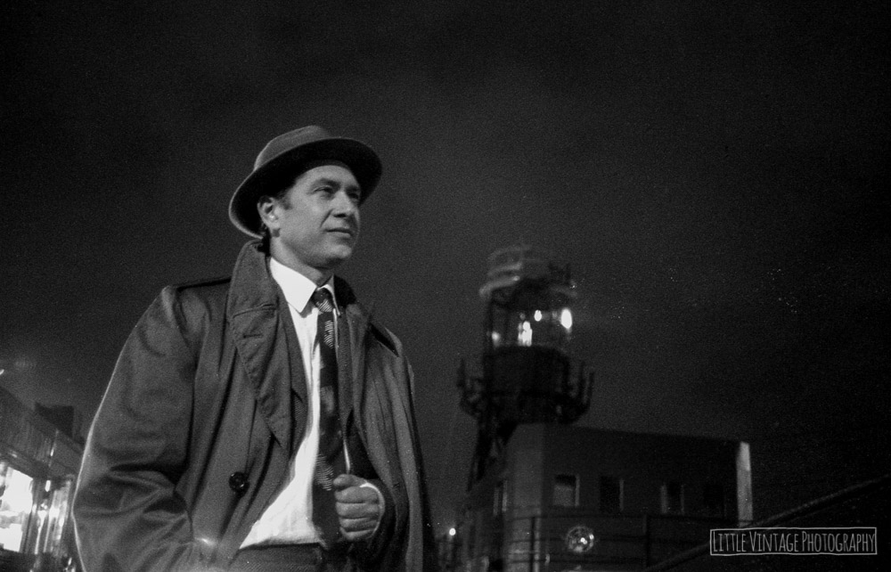 Production Still for 'Sunset Rose' 16mm Film Noir, East India Docks, London, 2015. Shot with Olympus OM30 on ILFORD HP5 PLUS