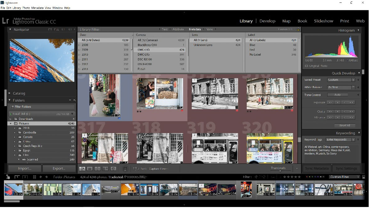 An Adobe Lightroom screenshot of my Panasonic Lumix LX3 files
