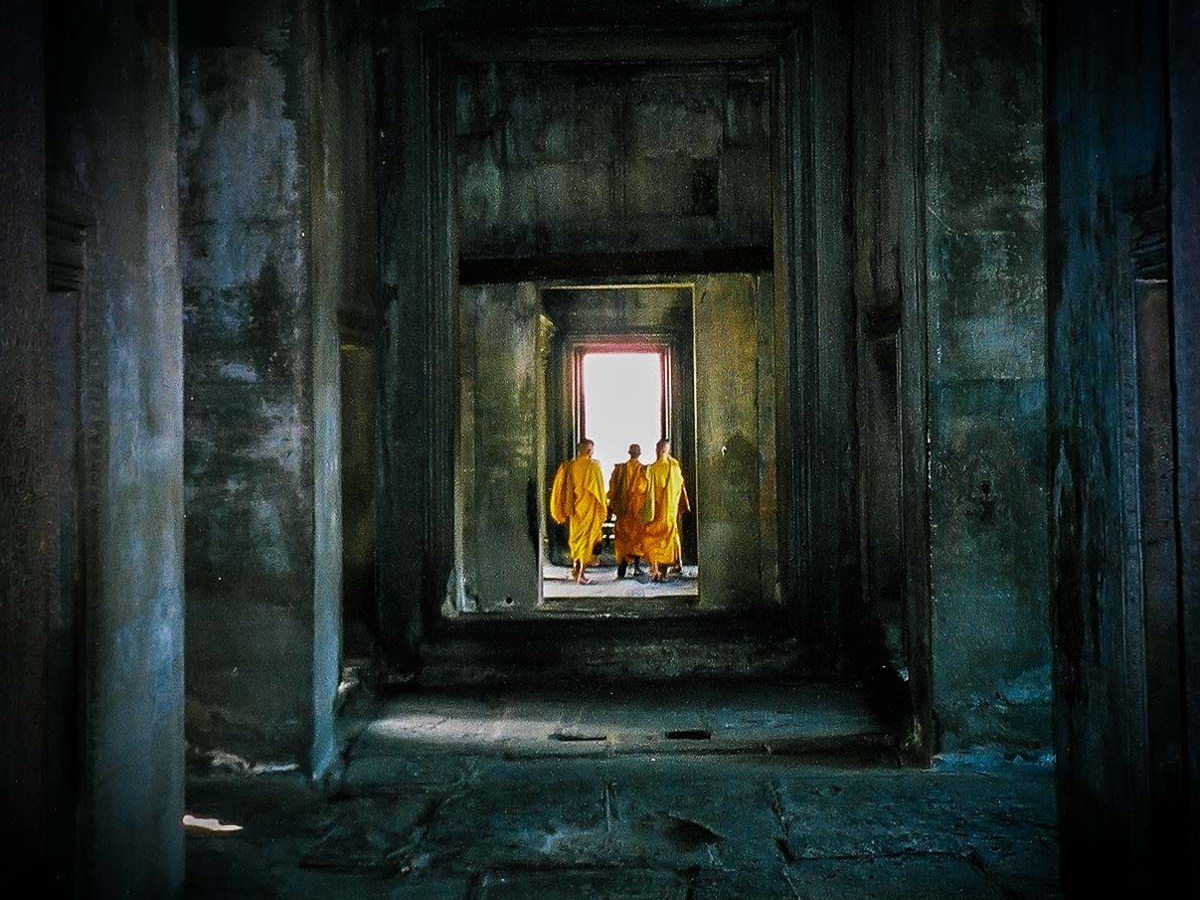 Film unknown / 35mm, Yashica Zoommate. Monks in Angkor Wat, Cambodia. January 2002.