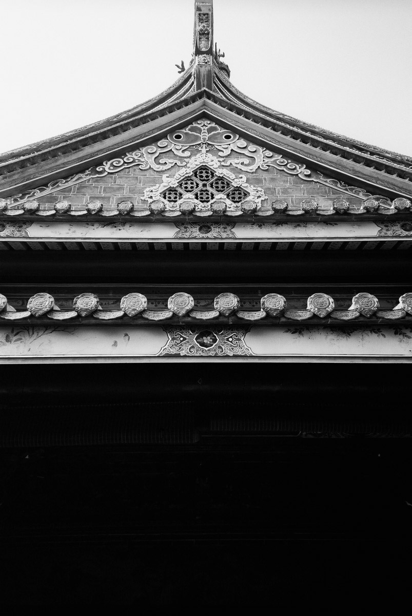 Roofline - Shot on ADOX Silvermax 100 at EI 200. Black and white negative film in 35mm format.Push processed one stop.