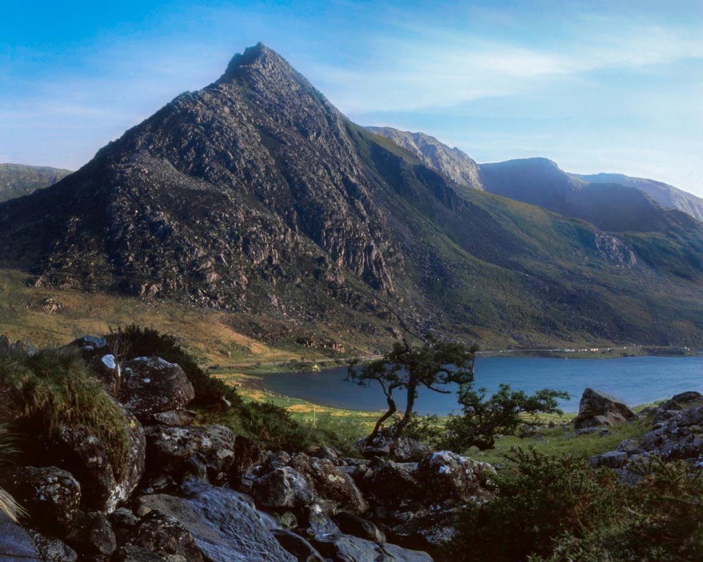 Tryfan; To emphasise the shadow and texture of the rock in both the foreground and background, I opted for the contrastier Fuji Velvia 50.