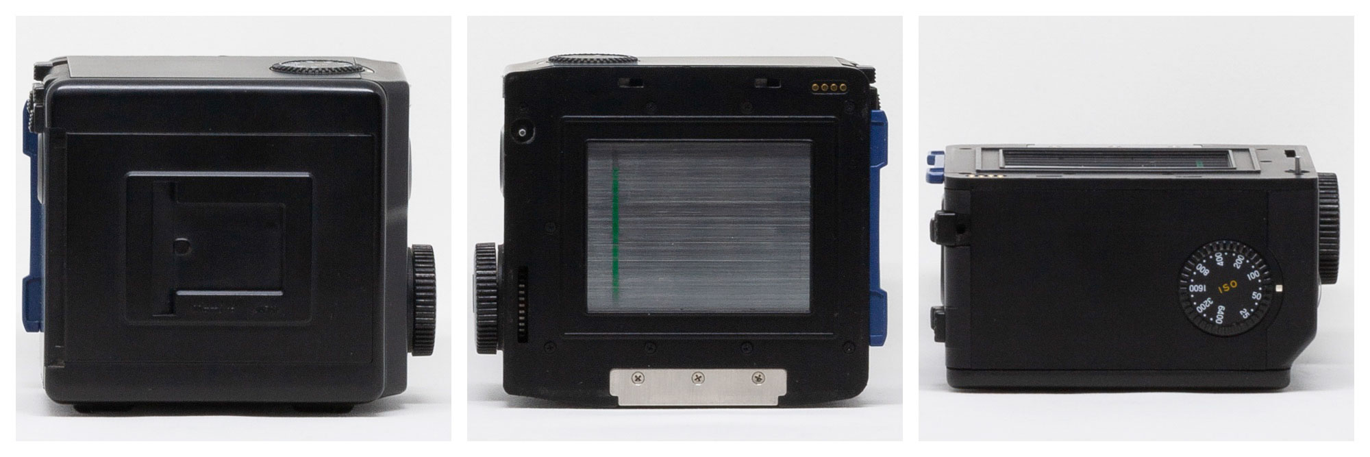Front, rear, and top sides of Mamyia 645 Pro 120 film back
