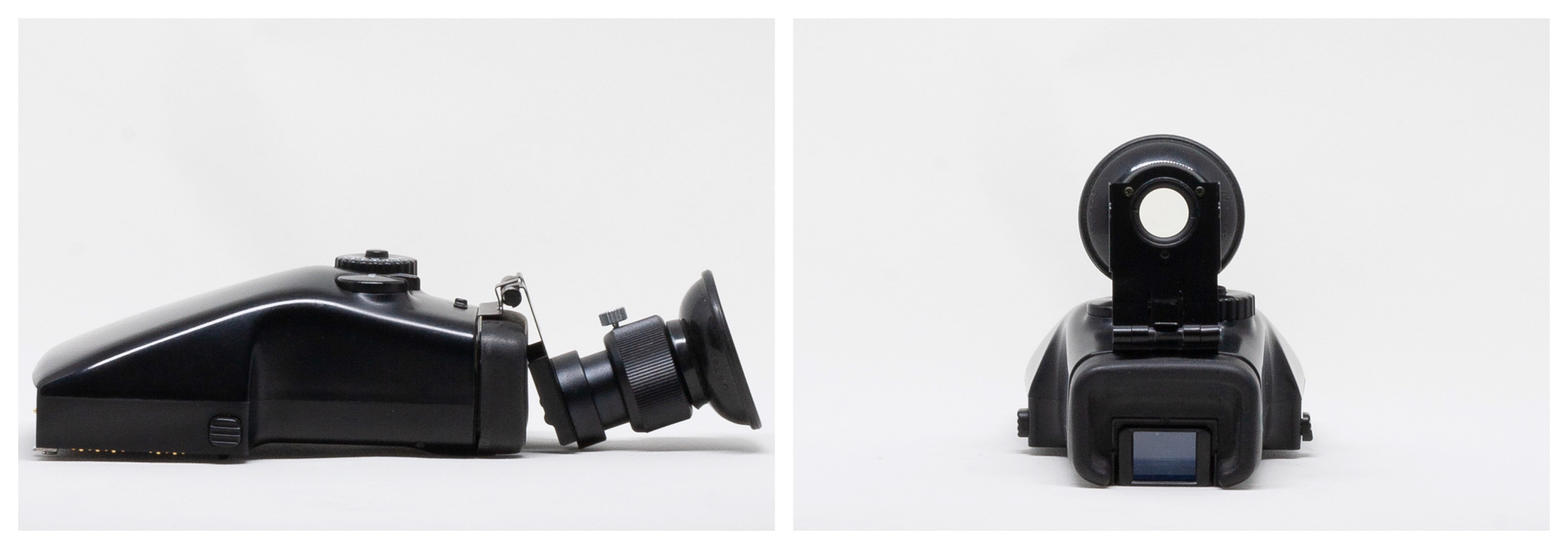 Mamiya 645 AE Prism Finder AE401 with magnifying loupe attached