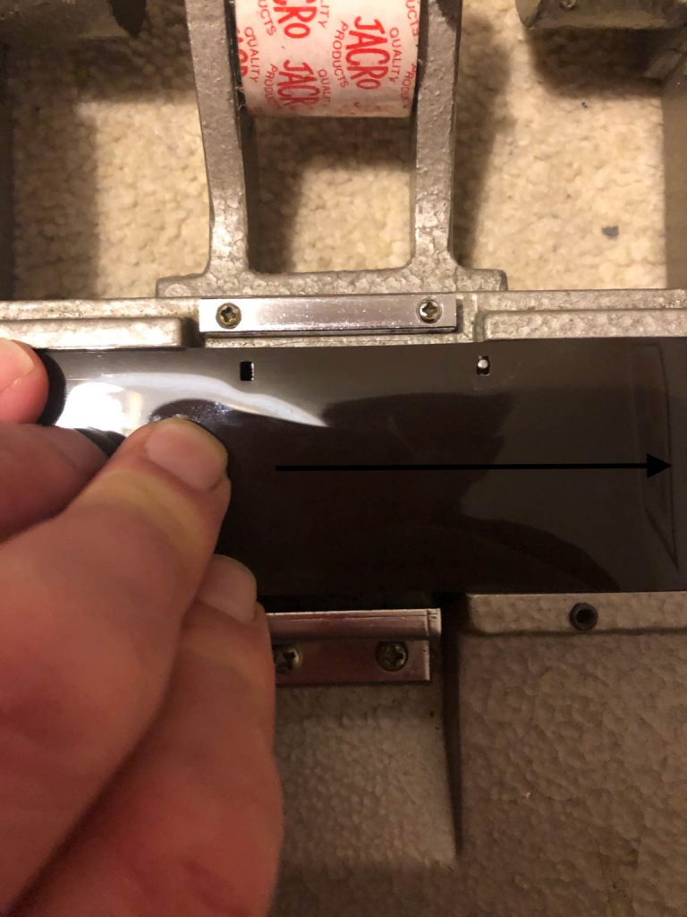 Figure 6 - Advance the film so the first perforation is over the registration pin and make the next.