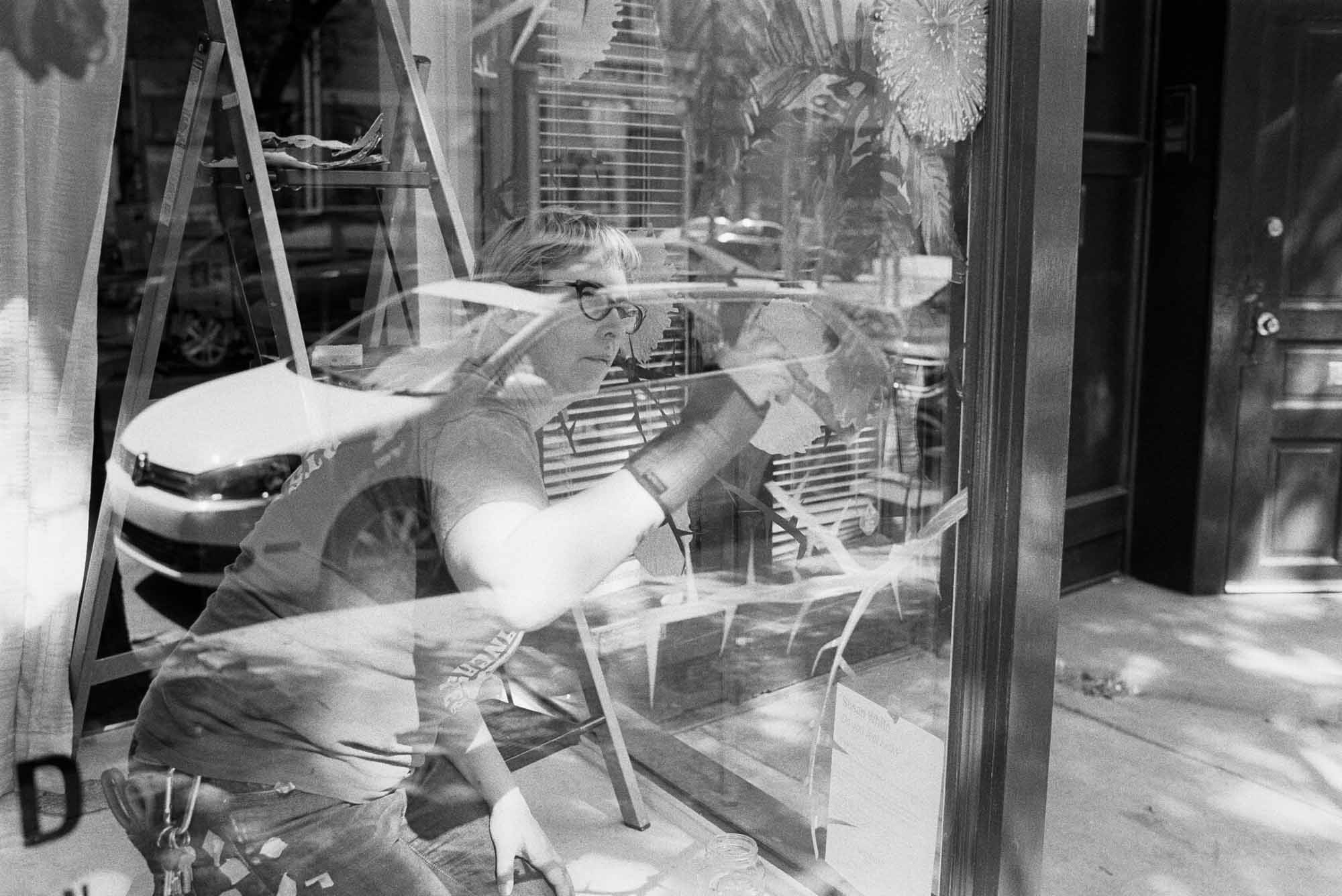 Installation at Old City Publishing, Nikon F2AS, 35mm f/1.4 AI, Eastman Double-X