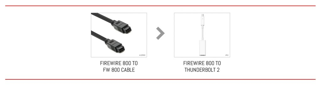 From FireWire 800 to Thunderbolt 2 in two steps.