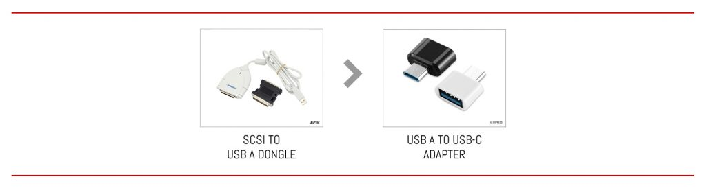 From SCSI to USB-C in two steps.