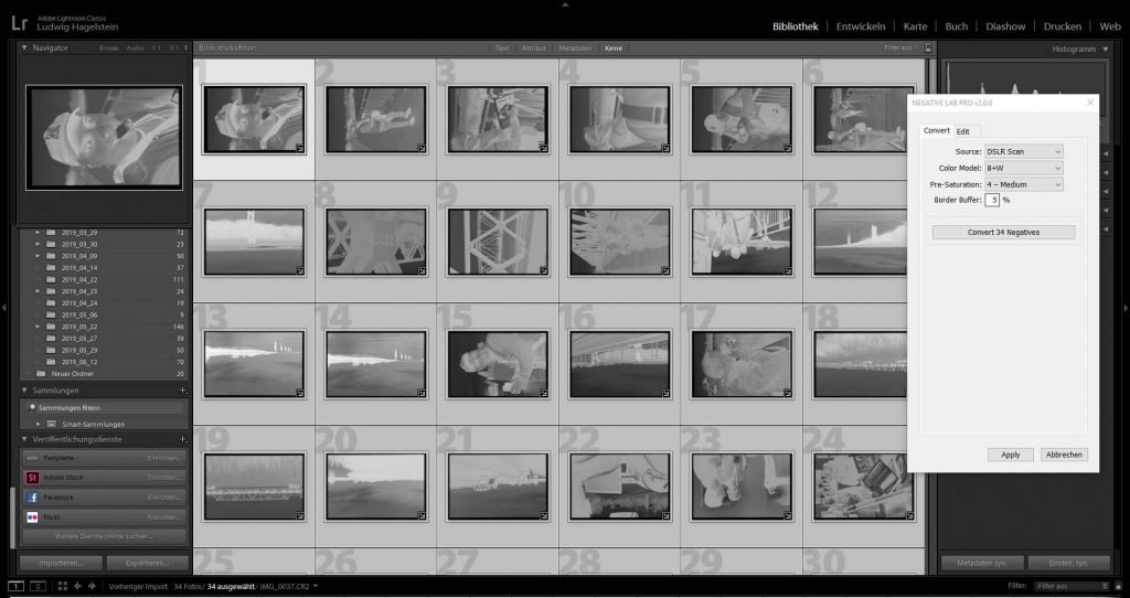 ILFORD HP5 PLUS EI 1600, NLP before batch conversion