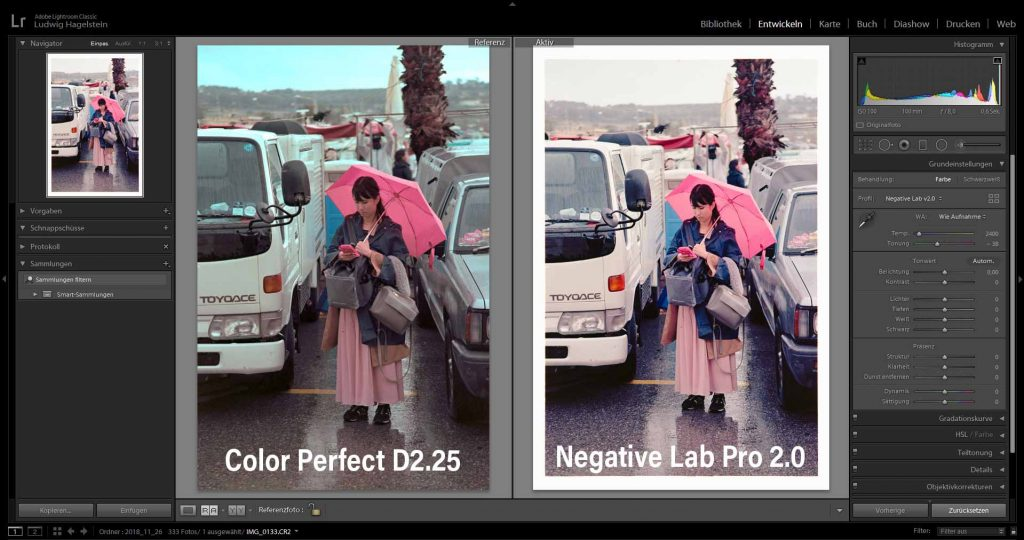 Side-by-side, Kodak Ektar 100 - ColorPerfect vs Negative Lab Pro
