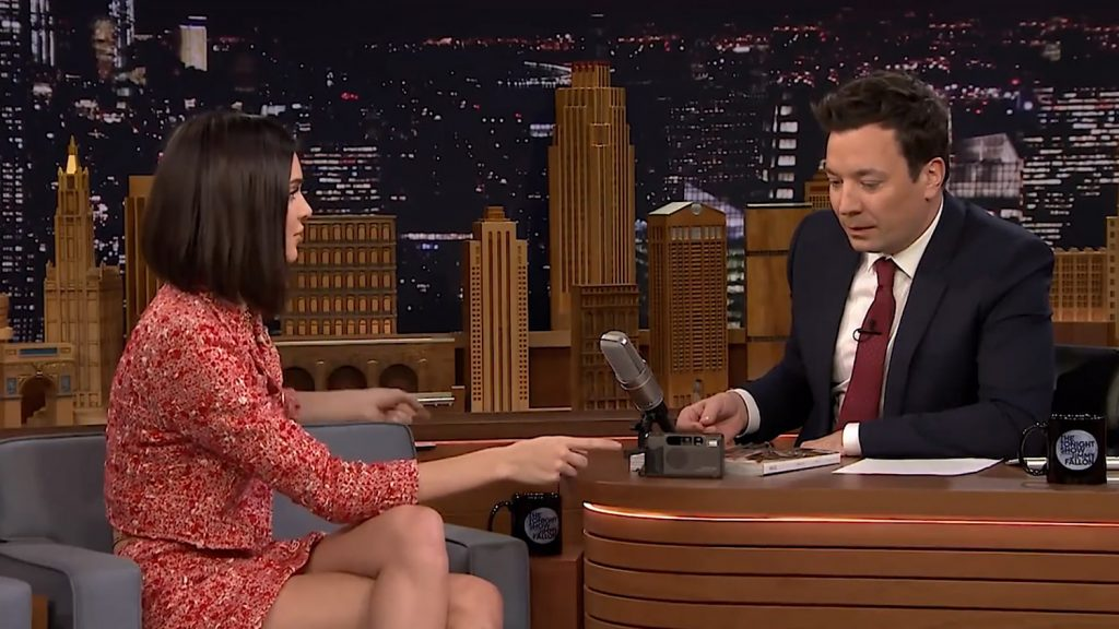 Kendal Jenner on Jimmy Fallon with her Contax point and shoot