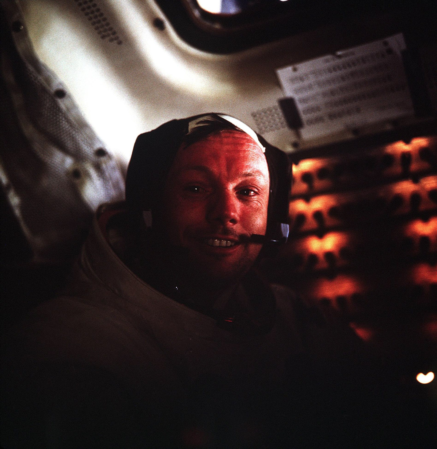 Neil Armstrong inside the Lunar Module as it rests on the lunar surface after completion of his historic moonwalk. Credit: Buzz Aldrin, NASA ID: AS11-37-5528