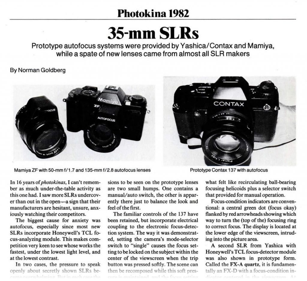 Analog Photographer Jan 1983: Photokina 1982 - CONTAX 137 MD Prototype