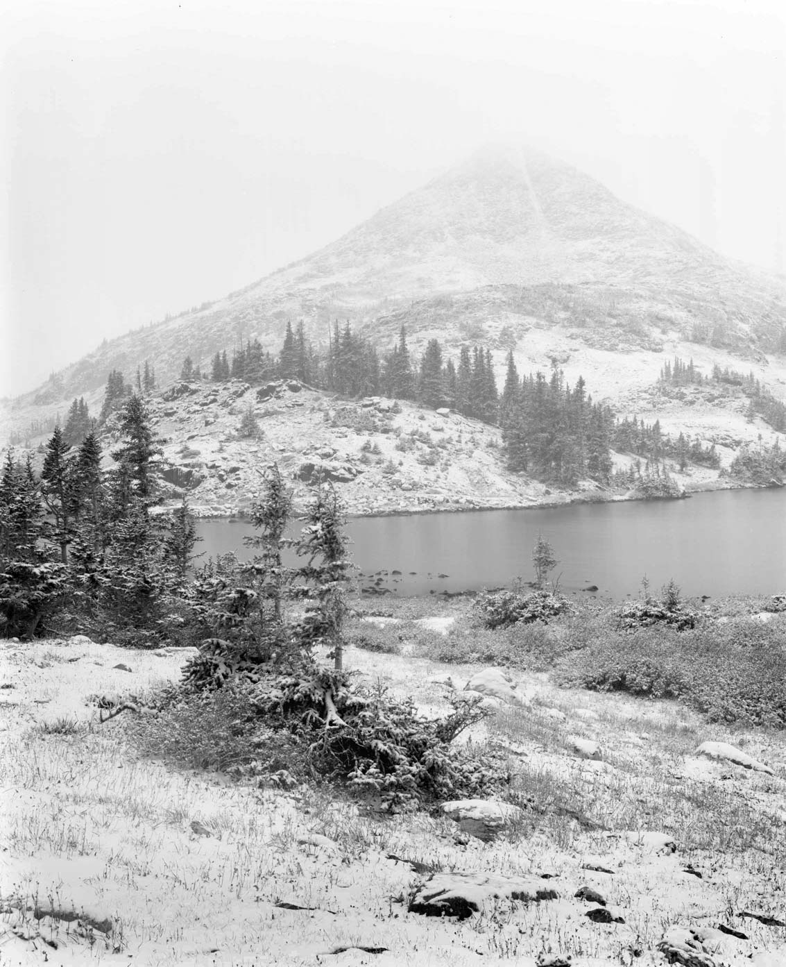 View from Lewis Lake - Shot on 8x10 ILFORD Delta 100 Professional film,Burke and James Camera,360mm lens,1-minute exposure at f/45