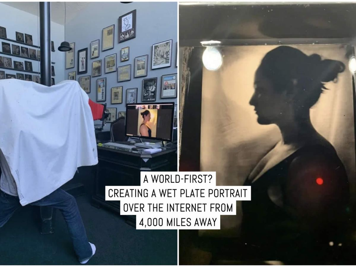 A world-first? Creating a traditional wet plate portrait over the internet from 4,000 miles away