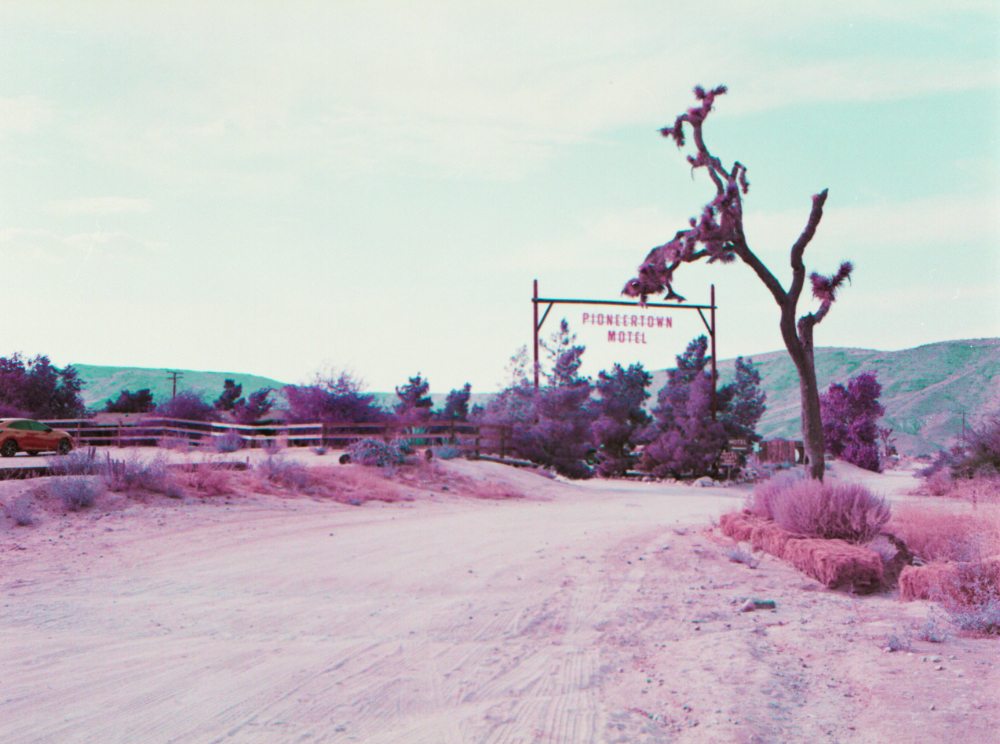 a dirt road with a tree beside it and a sign saying pioneertown motel