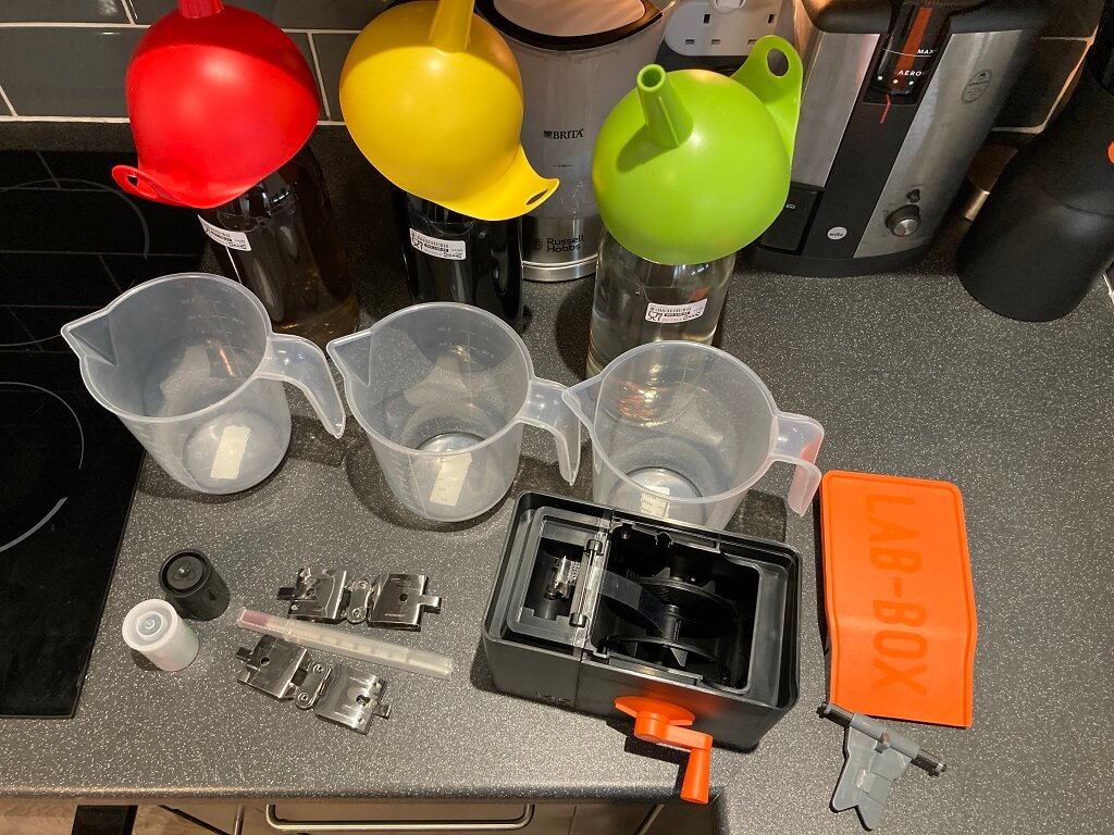 Darkroom 2.0 - my entire film processing equipment, fits nicely in a small storage box