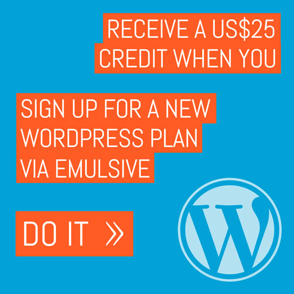Receive a US$25 credit at WordPress.com