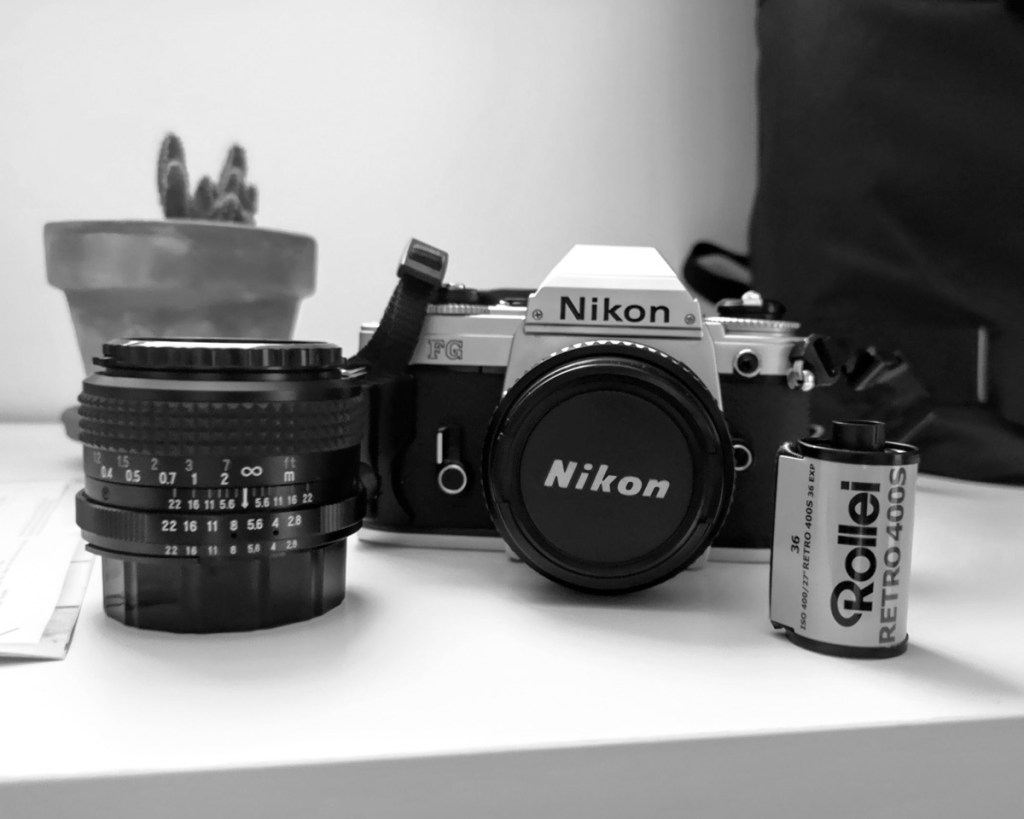 My Nikon FG, Nikkor 50mm Series E f/1.8 and Falcor 28mmm f/2.8 lenses, Stephane Mee