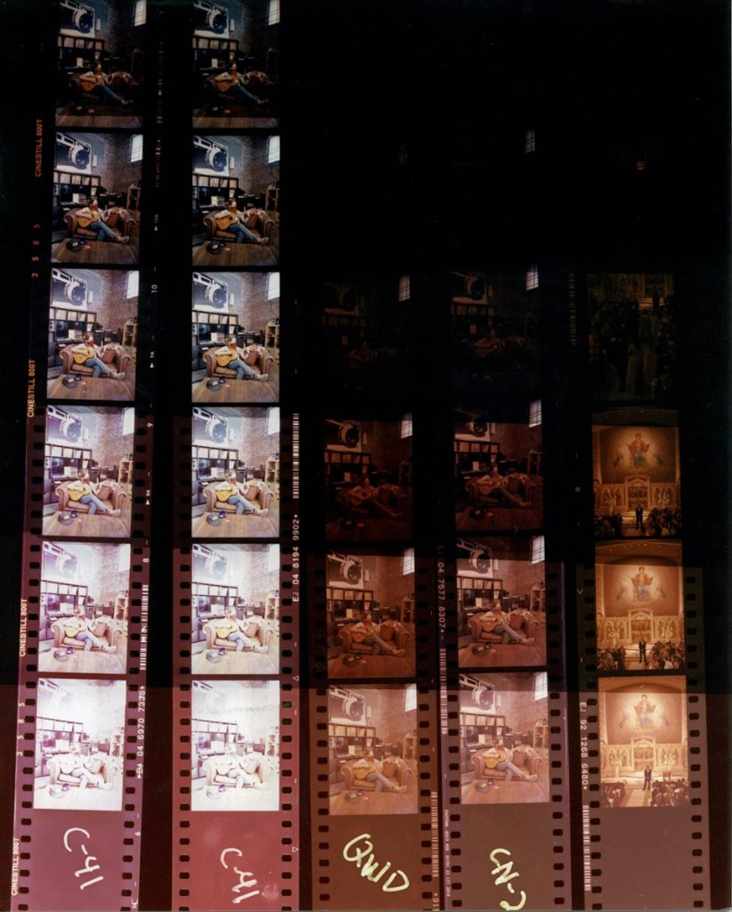 No correction RA-4 contact print exposure test, 1-32 sec.   From left to right: CineStill 800T with Cs41, Kodak VISION3 500T 5219 with Cs41, Kodak VISION3 500T 5219 with ECN-2 Kit, 5219 with Cs2 Kit, Kodak VISION3 5219 500T machine processed ECN-2 by FotoKem Motion Picture Lab.