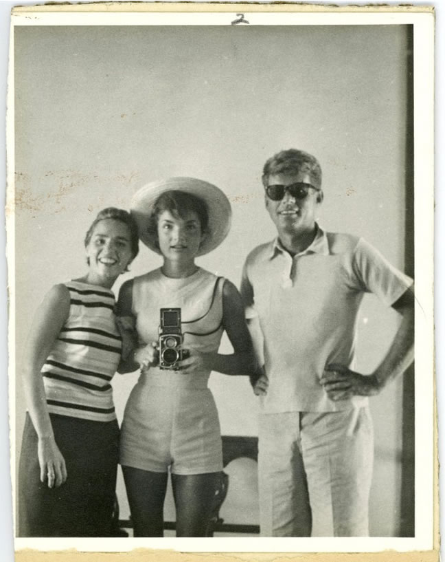 John F. Kennedy, right, with his wife, Jacqueline, center, and sister-in-law Ethel Kennedy at left - AP Photo-John McInnis Auctioneers