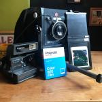"Burke & James Orbit 4x5 camera, Ilex Paragon Anastigmat f:4.5 EF 7 1:2"" lens and Polaroid OneStep CloseUp, Nathan Acevedo"