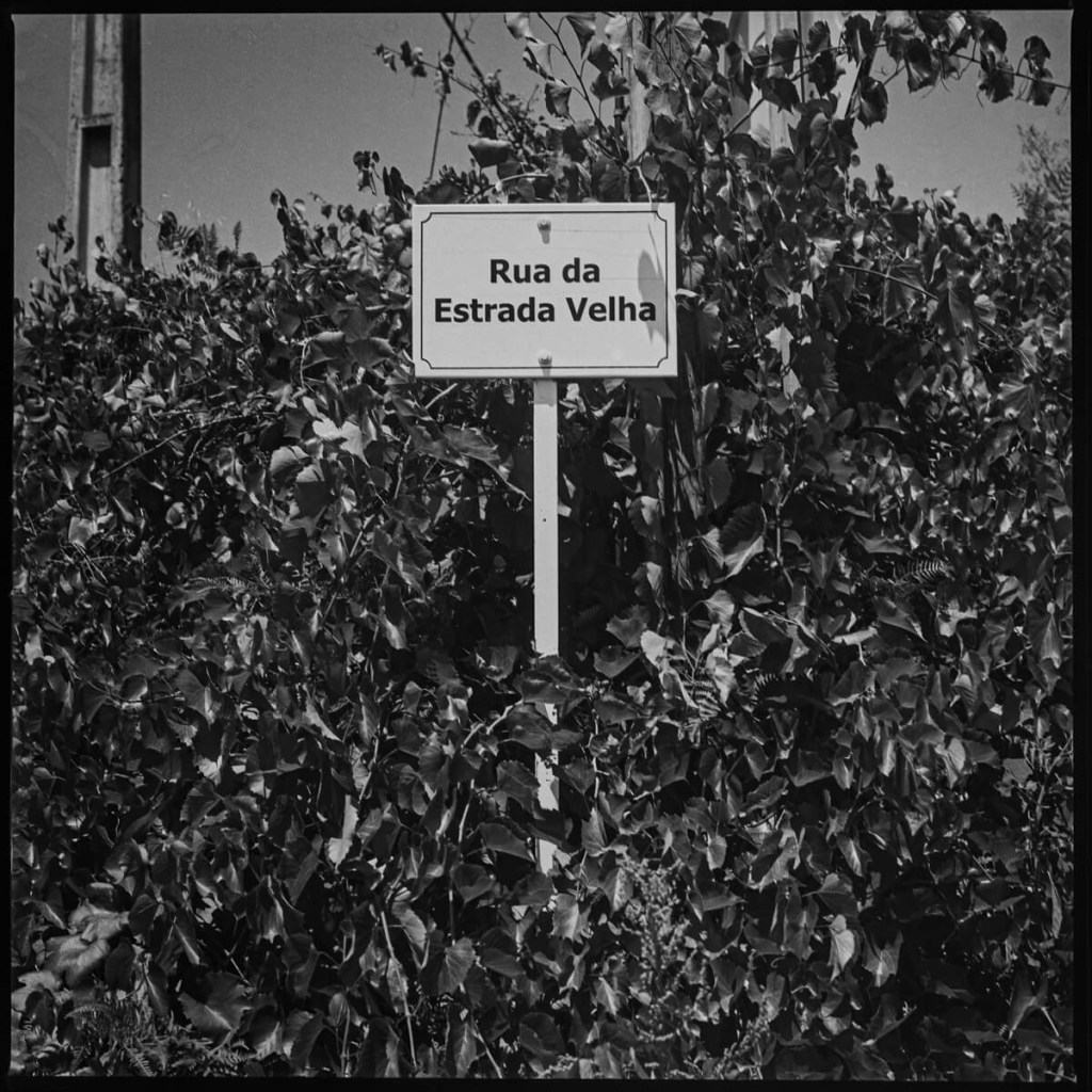 """""""Old Road"""" sign, near Chaves Hasselblad 500C, Carl Zeiss Planar 80mm f/2.8, ILFORD FP4 PLUS"""
