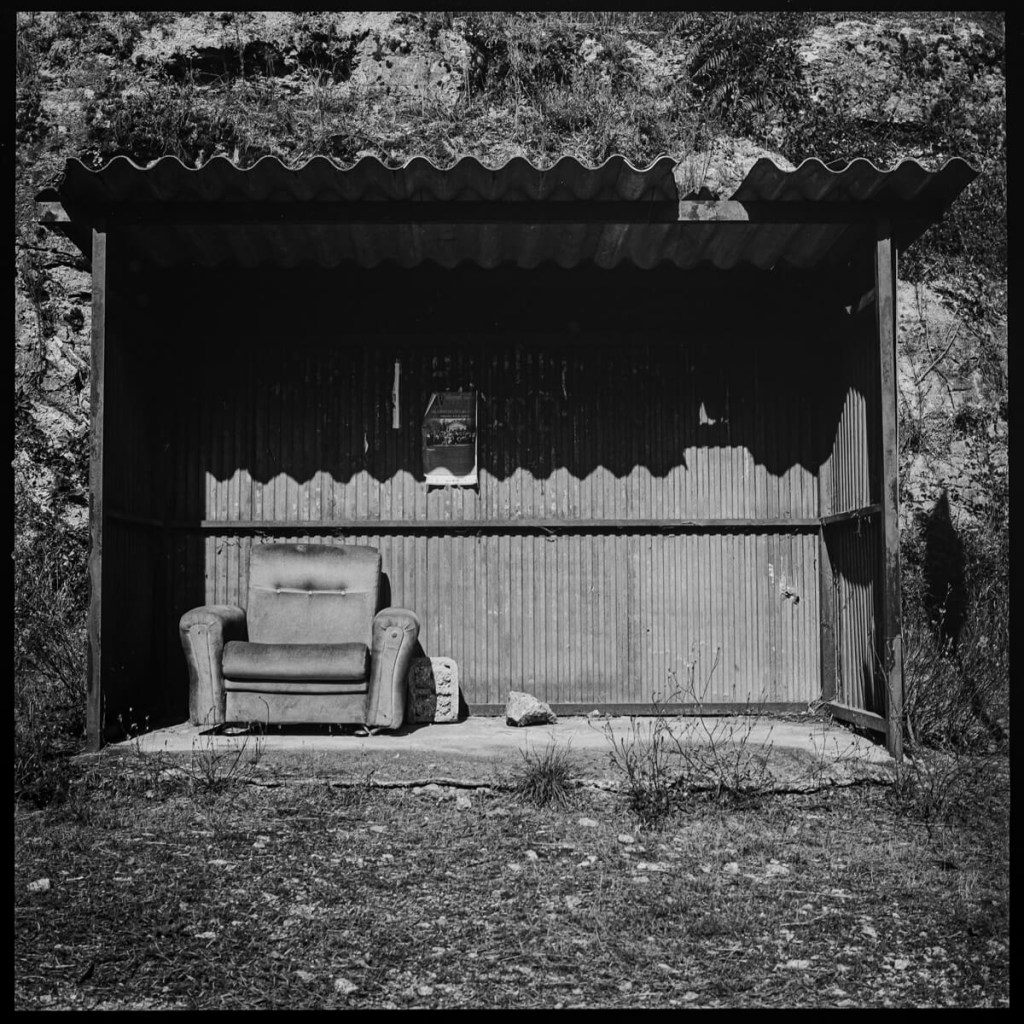 Old couch on bus station, near Viseu Hasselblad 500C, Carl Zeiss Planar 80mm f/2.8 ILFORD FP4 PLUS