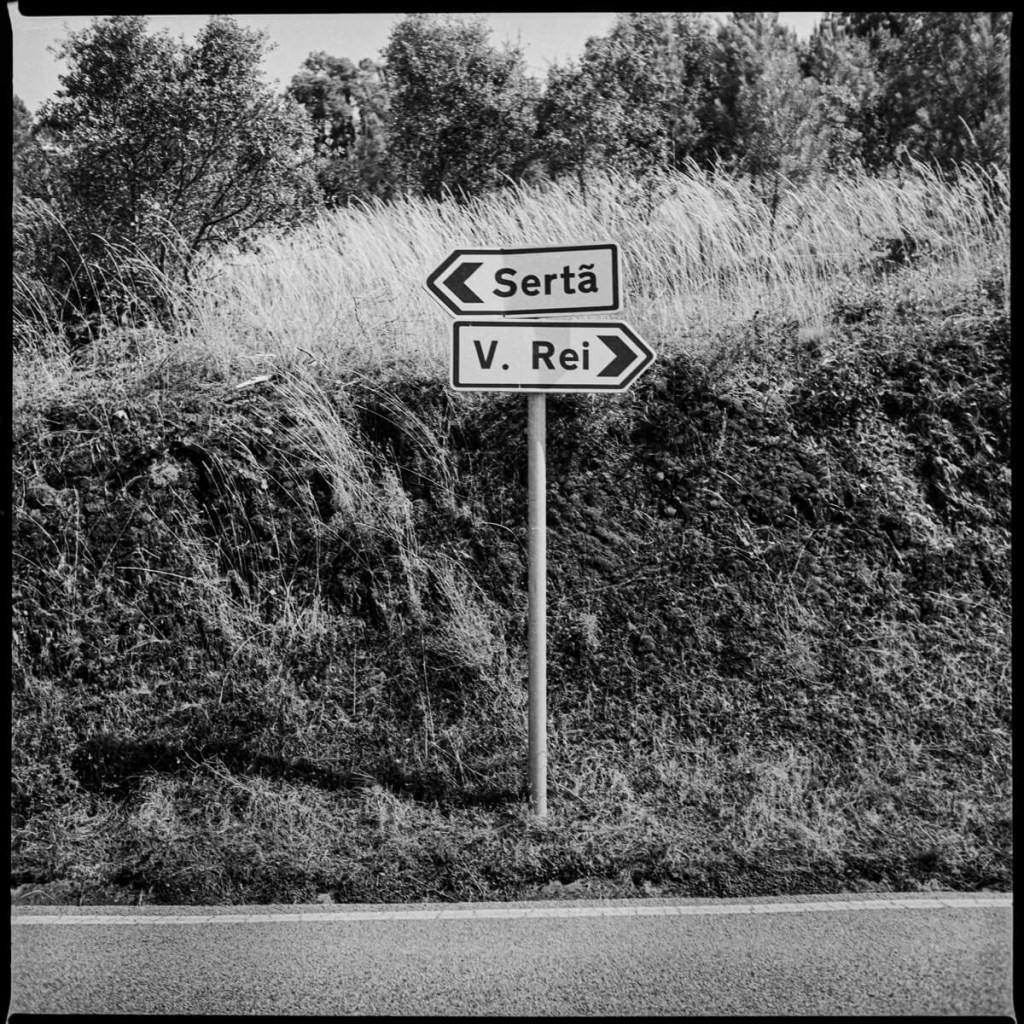 Road sign, near Gois Yashica Mat 124 G, ILFORD FP4 PLUS