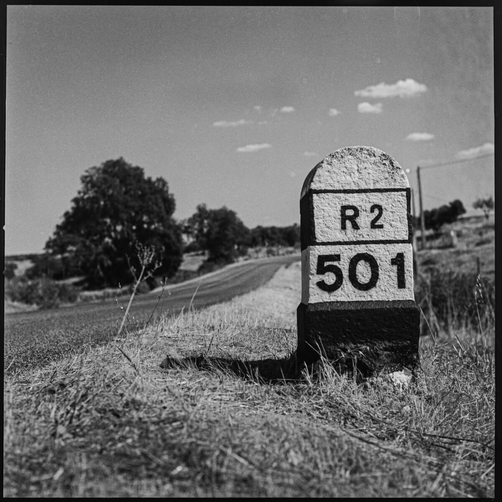 Regional road sign, where the road loses its national register  Hasselblad 500C, Carl Zeiss Planar 80mm f/2.8, ILFORD FP4 PLUS