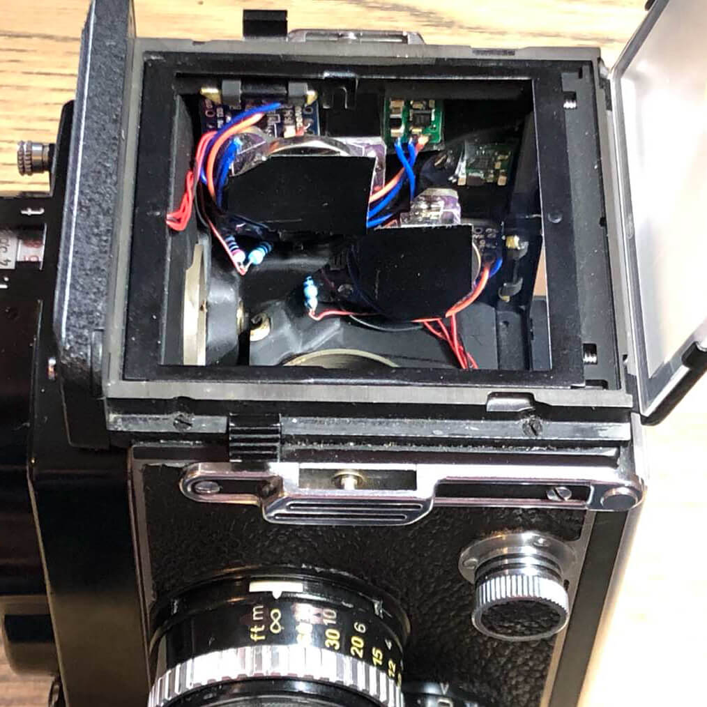 Rolleiflex 2.8F Digital Light Meter Modification - Main components mounted