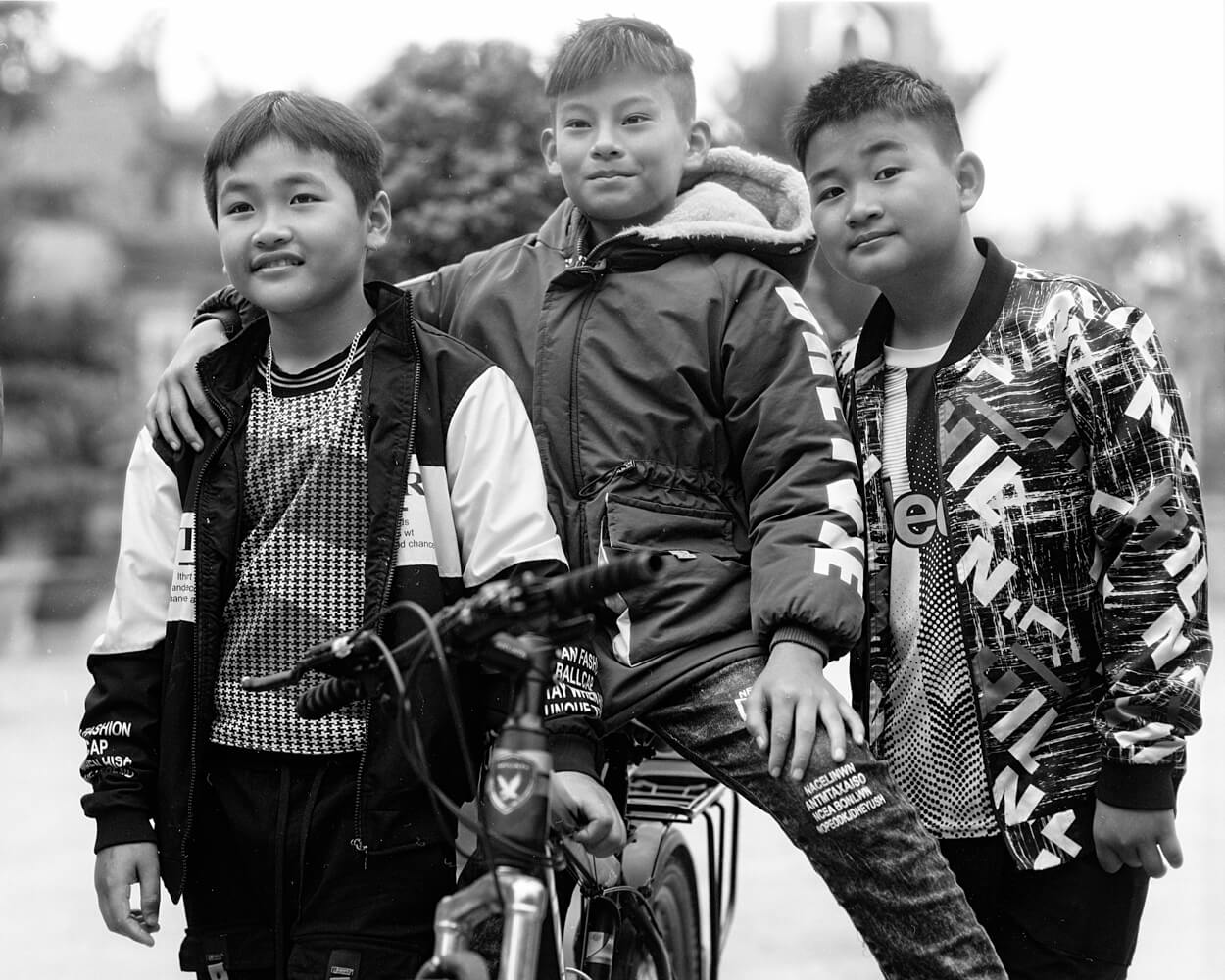 Three Best Friends - 5 Frames... Around Hai Phong, Vietnam on my 1920 Graflex RB Tele 4x5 and ILFORD HP5 PLUS (4x5 Format / EI 400 / Voigtlander Heliar 210mm f/4.5 c.1920 lens) - by Stuart Kinkade