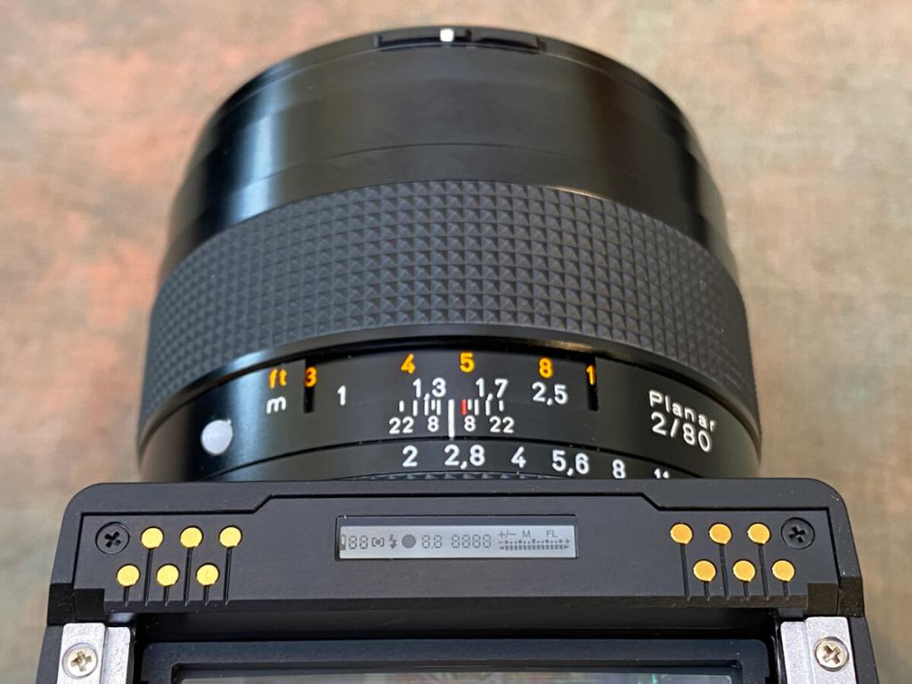 Gear - With the prism removed, the Pentax 645NII's gold contacts and viewfinder information display can be seen