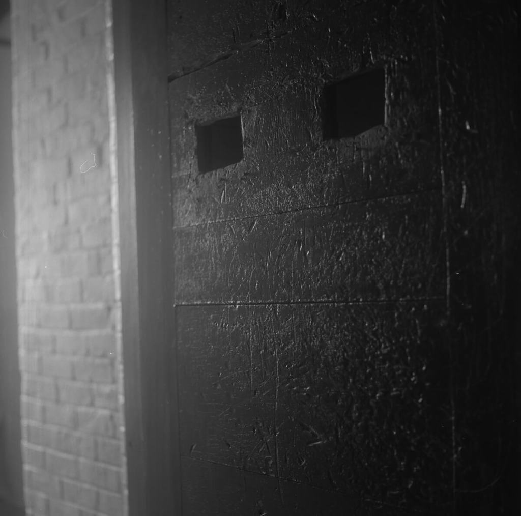 Fujifilm NEOPAN 100 ACROS - On the inside of the doors you could see scratches and scrapes made by the patients as they had tried to get out.