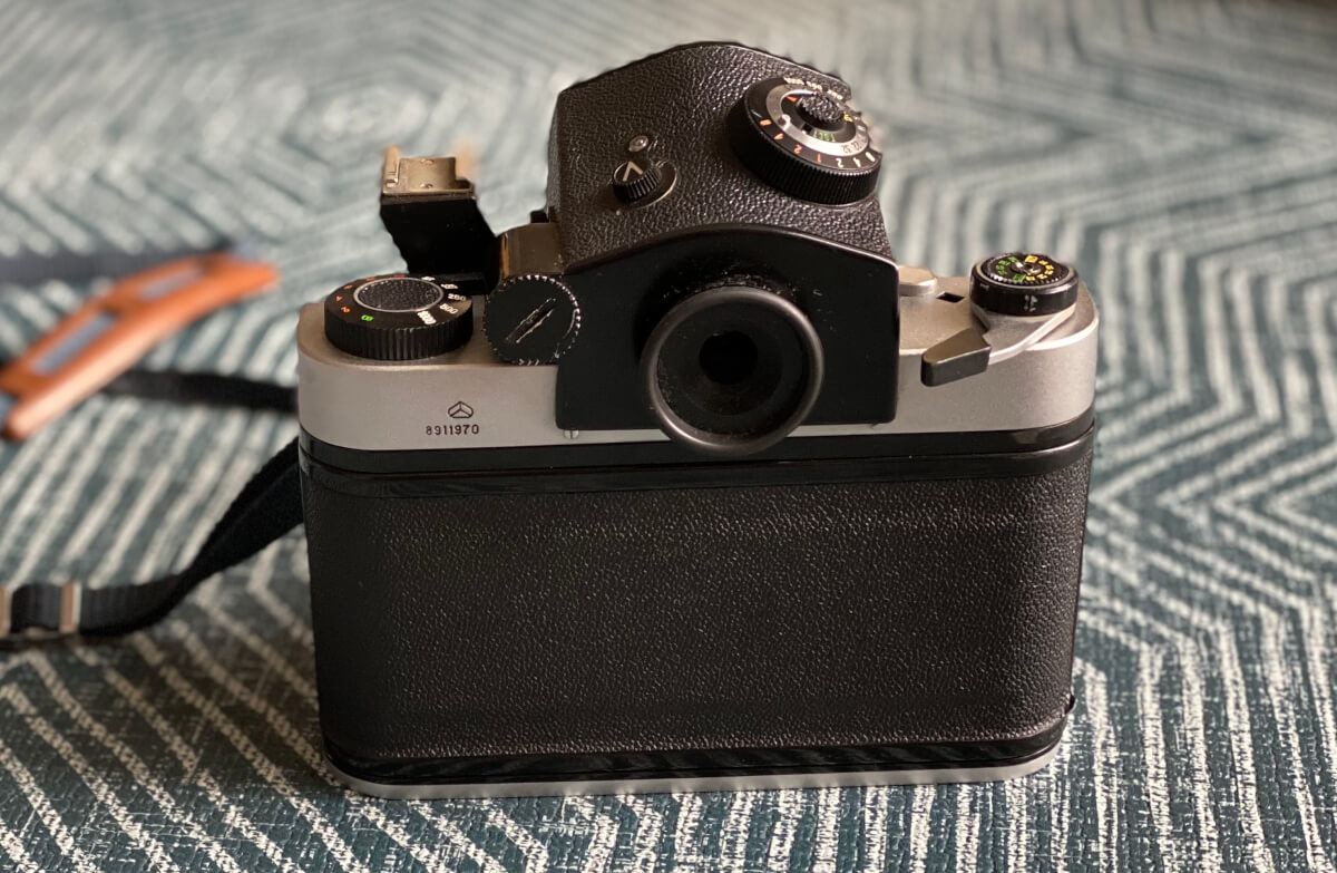 The pentaprism mounted on the camera