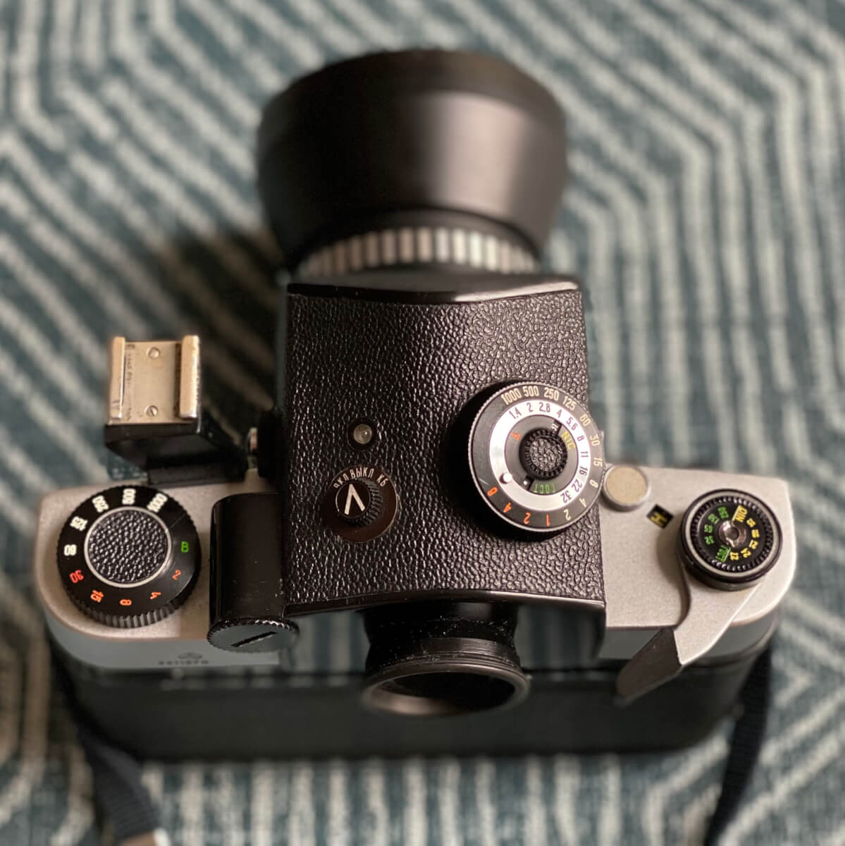 Top panel view with shutter speed, cold shoe, prism meter controls (uncoupled), and winder.